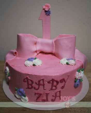 Cute in Pink 1st Birthday Cake